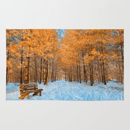 Burning Ice Forest Trail Rug