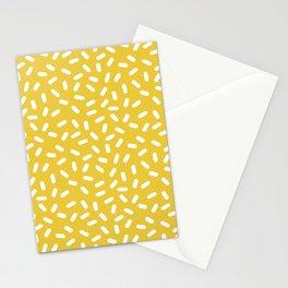 Somethin' Somethin' - yellow bright happy sprinkles pills dash pattern rad minimal prints Stationery Cards