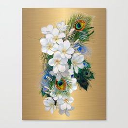 Running Gold and Peacock Feather  Pattern Canvas Print