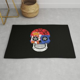 Sugar Skull with Roses and Flag of Serbia Rug