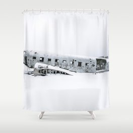 Plane Wreck in Iceland in Winter - Landscape Photography Minimalism Shower Curtain