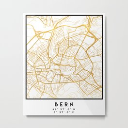BERN SWITZERLAND CITY STREET MAP ART Metal Print