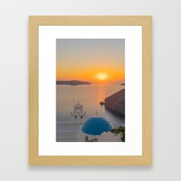 Three Bells Santorini Framed Art Print