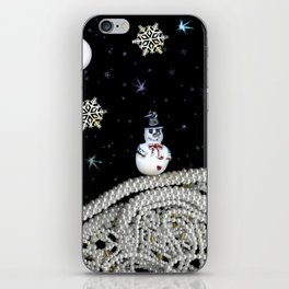 Pearly White Snow Night, Scanography iPhone Skin