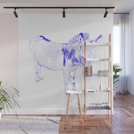 mini donkey drawing, blue Wall Mural