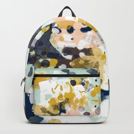 Sloane - Abstract painting in modern fresh colors navy, mint, blush, cream, white, and gold Backpack