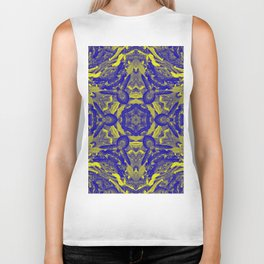 Abstract kaleidoscope of wattle blooms on textured background Biker Tank