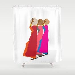 Three women carrying water 1 Shower Curtain