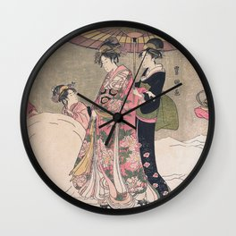 Playing in the Snow Wall Clock