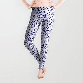 Vonnie - abstract minimal indigo blue dalmatian dots brushstrokes animal print monochromatic print Leggings