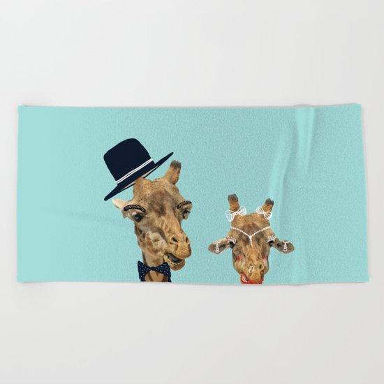 Funny Bride and Groom Beach Towel