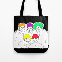 1d Tote Bags featuring 1D punked by Rebecca Bear