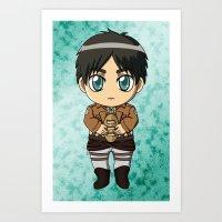shingeki no kyojin Art Prints featuring Shingeki no Kyojin - Chibi Eren by Tenki Incorporated