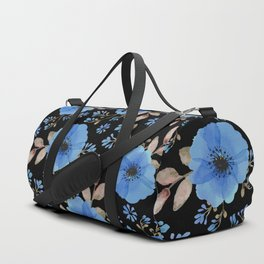 Blue flowers with black Duffle Bag
