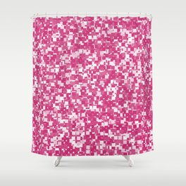Pink Yarrow Pixels Shower Curtain