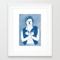han solo Framed Art Prints featuring Han Solo by David Penela