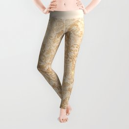 Elegant vintage faux gold glitter antique floral damask Leggings