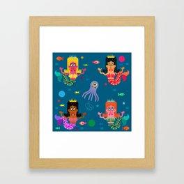 Mermaid Sisters Framed Art Print
