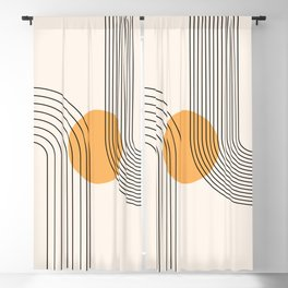 Geometric Lines in Black and Beige 24 (Rainbow and Sun Abstraction) Blackout Curtain