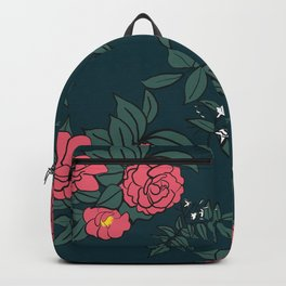Camellia & Jasmine on dark blue Backpack