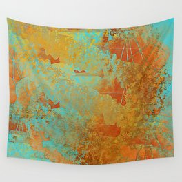 Turquoise and Copper-Red Wall Tapestry