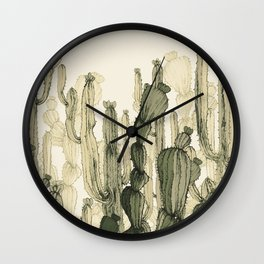 drawing cactus Wall Clock
