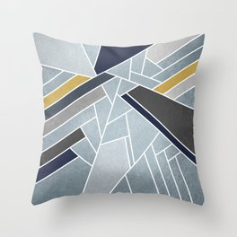 Soft Silver/Blue/Navy/Gold Throw Pillow