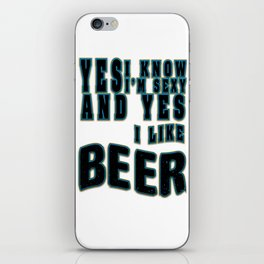 yes i like beer - I love beer iPhone Skin
