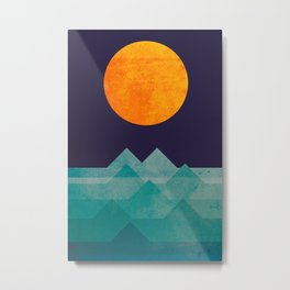 The ocean, the sea, the wave - night scene Metal Print