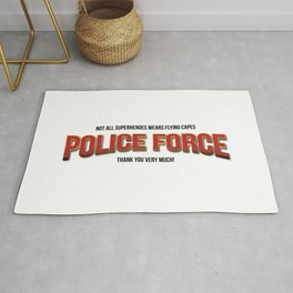 Policeman t shirt. The real super heroes - Policemen - A homage to the pandemic professionals. Rug