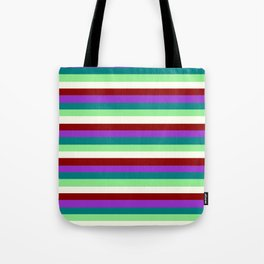 Eyecatching Dark Orchid, Teal, Light Green, Ivory, and Dark Red Colored Lines Pattern Tote Bag