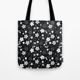 Black & White Floral Tote Bag