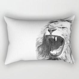 Black White Fierce Lion Rectangular Pillow