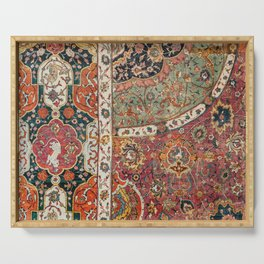 Persian Medallion Rug II // 16th Century Distressed Red Green Blue Flowery Colorful Ornate Pattern Serving Tray