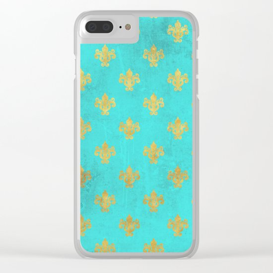 Queenlike on aqua I  Gold Heraldry elements on turquoise background Clear iPhone Case
