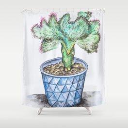 Euphorbia Lactea Cactus Shower Curtain
