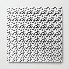 Black and White Memphis Squiggle Pattern Metal Print
