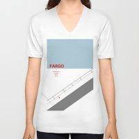 fargo V-neck T-shirts featuring Fargo minimalist poster by cinemaminimalist