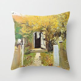 The garden entrance at the house of Michael and Anna Ancher on Markvej in Skagen - Digital Remaster Throw Pillow