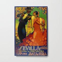 1928 Vintage Seville Spain Travel Poster Metal Print