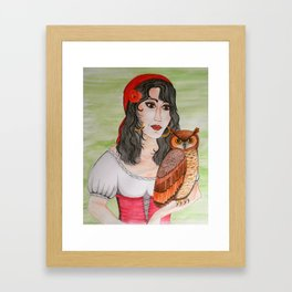 Gypsy Owl Woman Framed Art Print