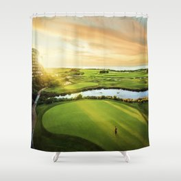 Golfing at the 'Gong Shower Curtain