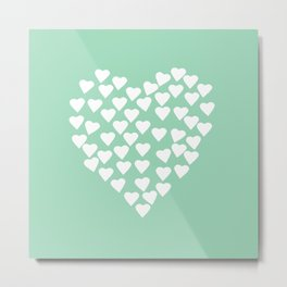 Hearts Heart White on Mint Metal Print