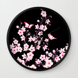 Cherry Blossoms Pink Black Wall Clock