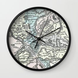 Vintage Map of Rome Italy (1862) Wall Clock