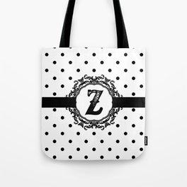 Black Monogram: Letter Z Tote Bag