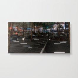 Zuccotti park at night, night city, downtown, Manhattan, New York (2020-5-GNY161) Metal Print