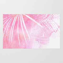 Abstract Pink Palm Tree Leaves Design Rug