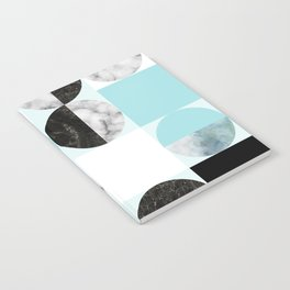 Mid Modern Moon and Sun Geometric Pattern - blue Notebook