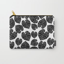 Multi linocut leaves tropical plant indoor house plants black and white pattern lino print dorm room Carry-All Pouch